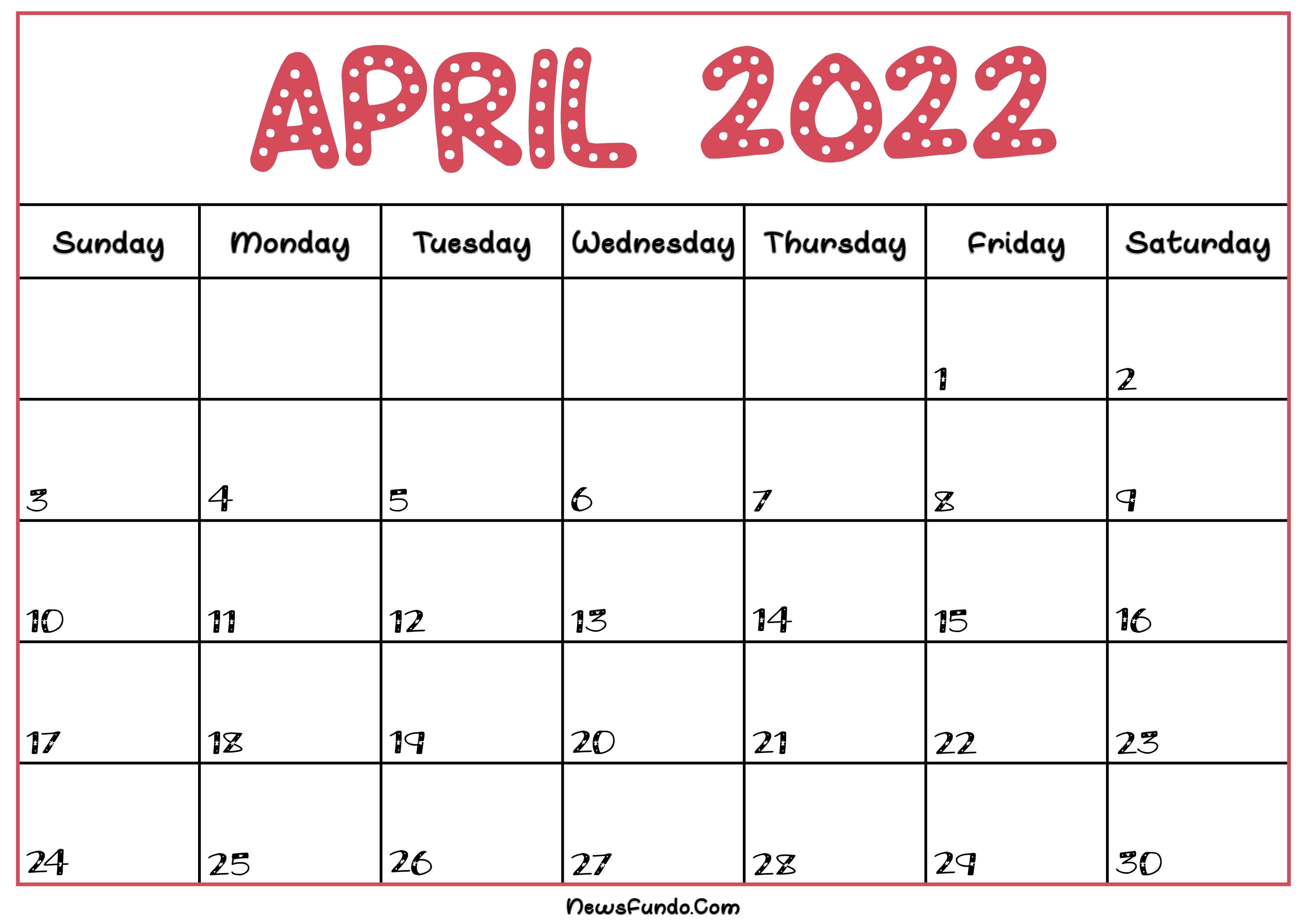 April Calendar 2022 Printable