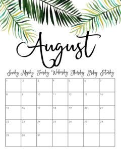 August 2021 Cute Calendar