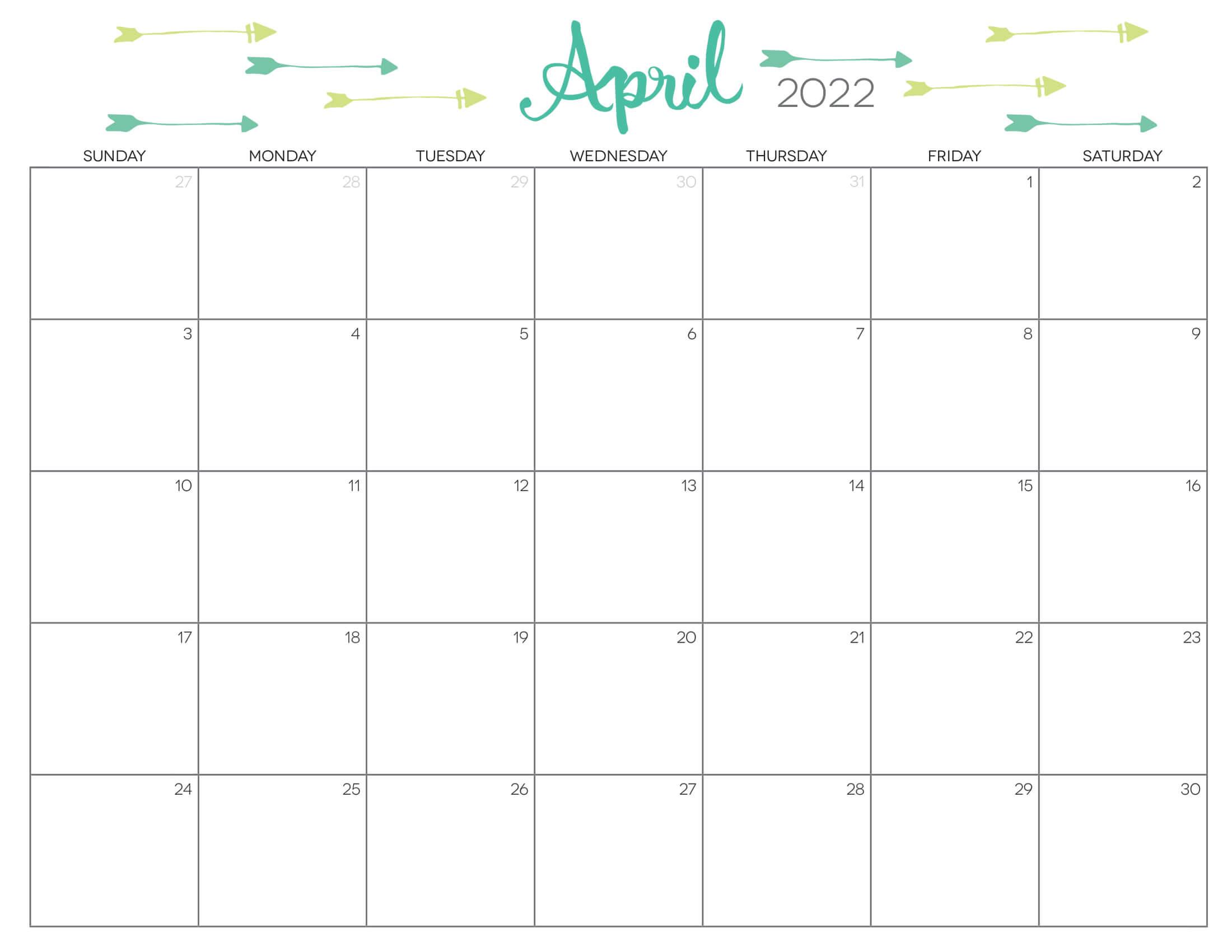 Cute Calendar April 2022