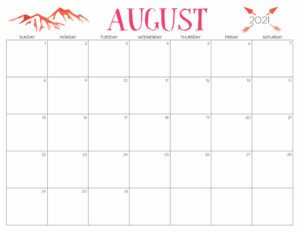 Cute Calendar August 2021
