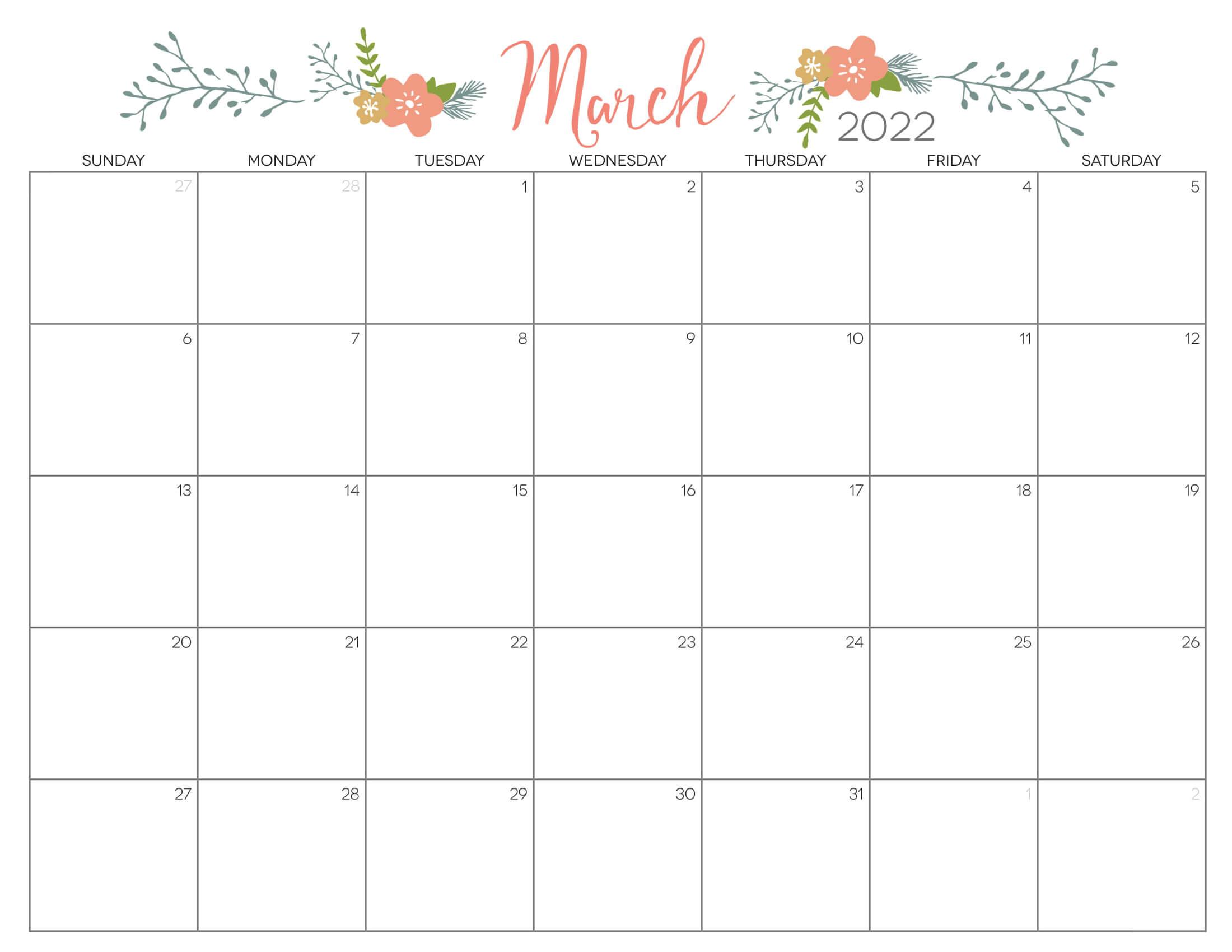 Cute Calendar March 2022