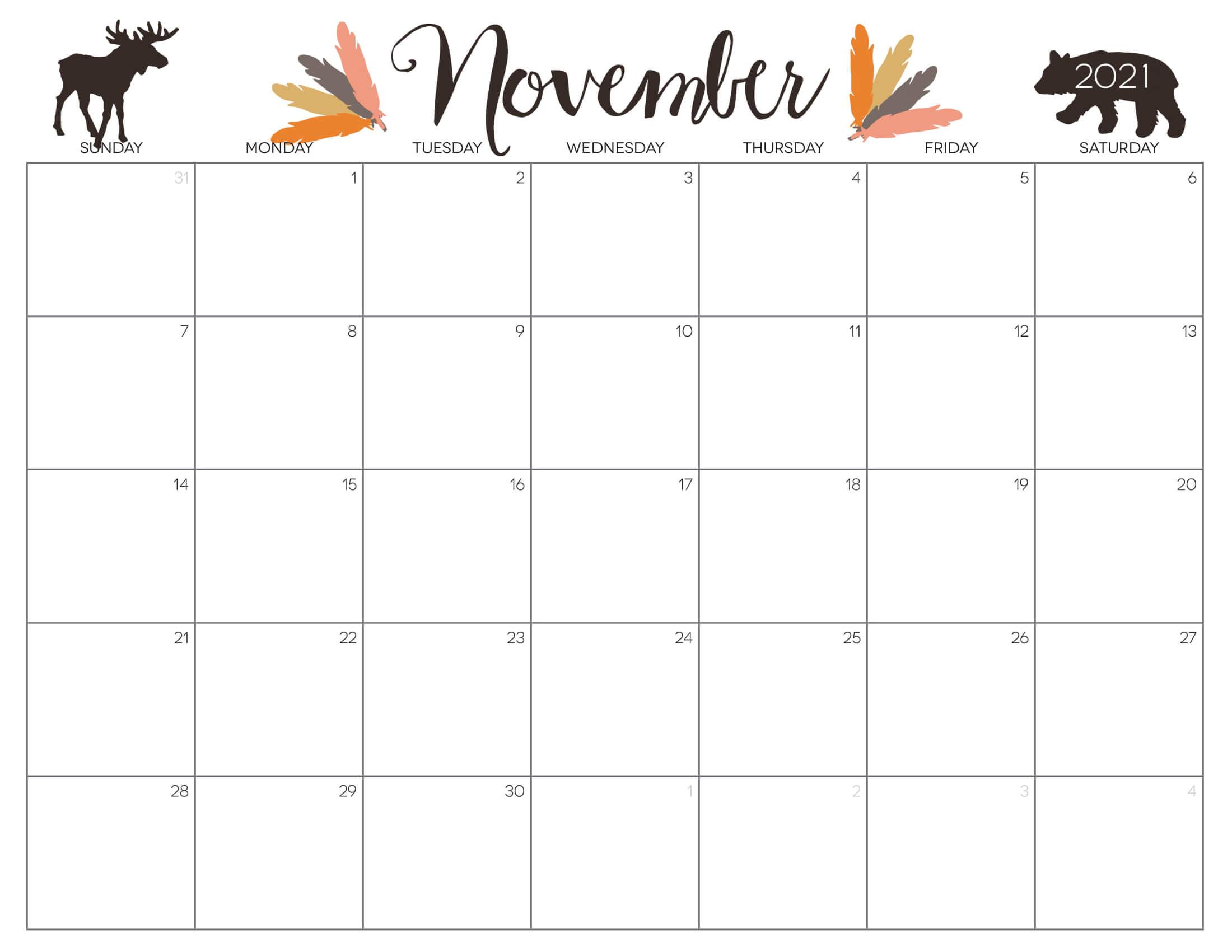 Cute Calendar November 2021