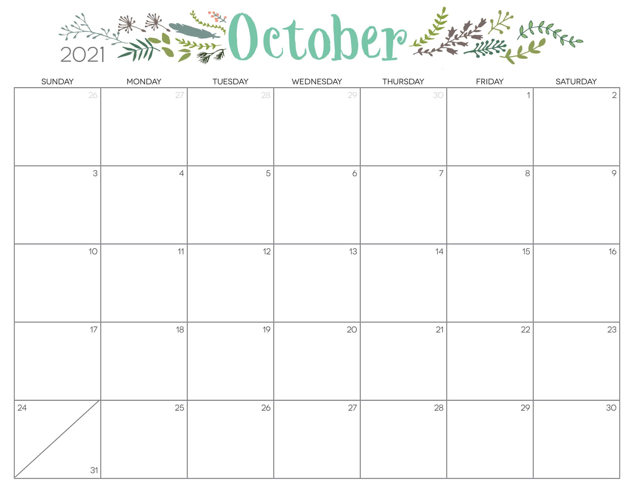 Cute Calendar October 2021