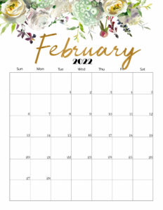 Cute February 2022 Calendar