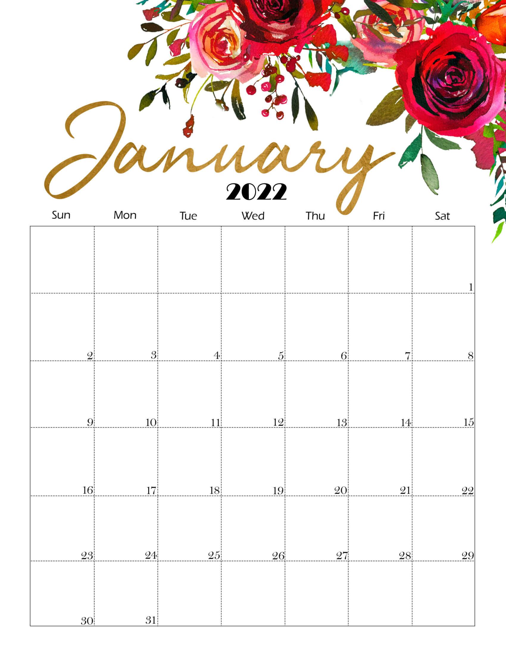 Cute January 2022 Calendar