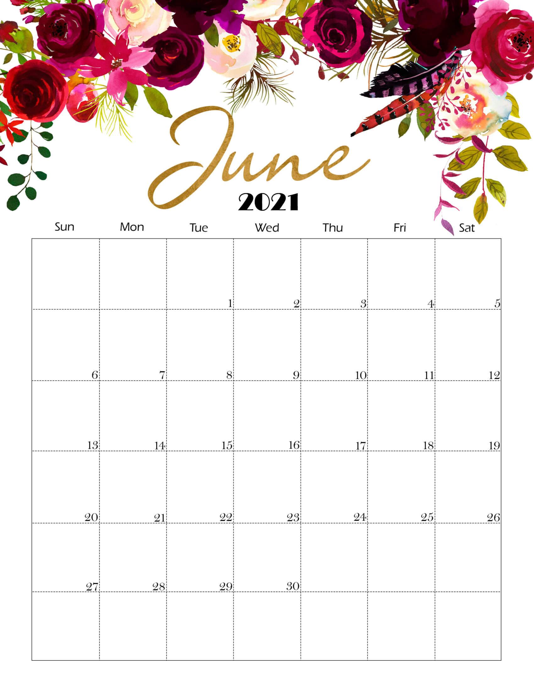 Cute June 2021 Calendar