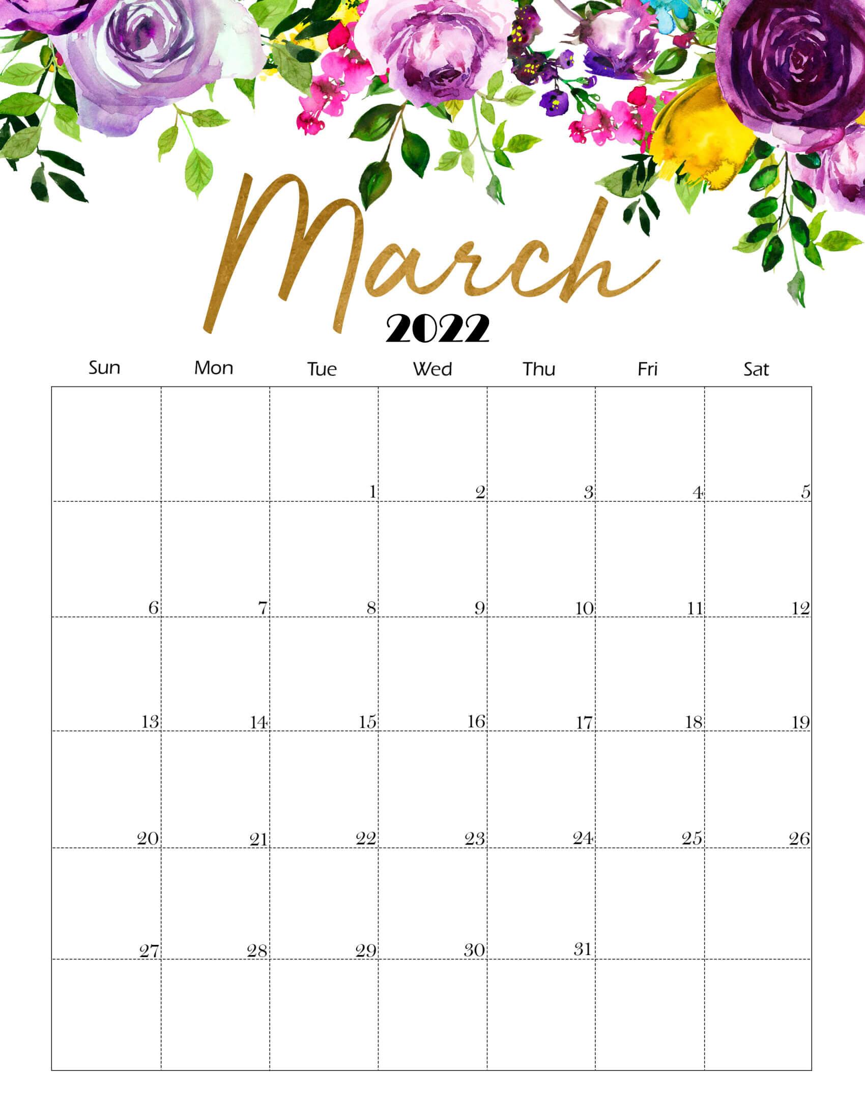 Cute March 2022 Calendar