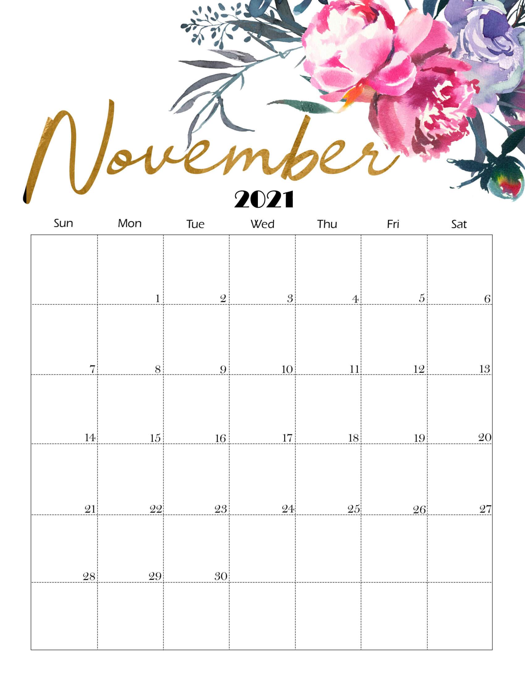 Cute November 2021 Calendar