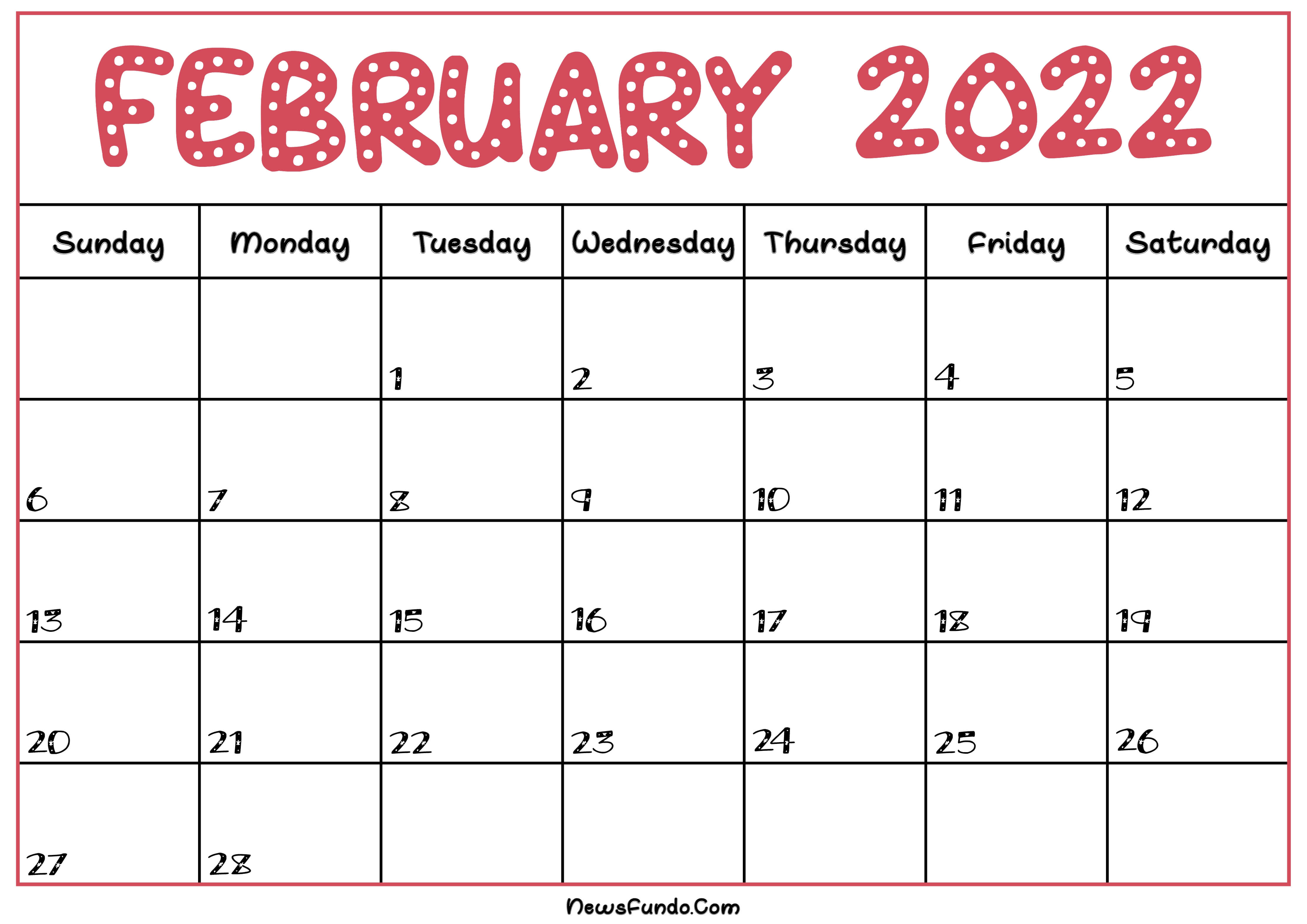 February Calendar 2022 Printable