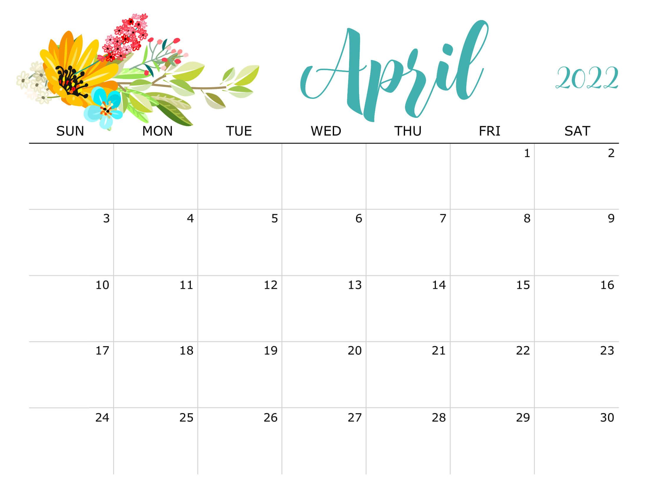 Floral April 2022 Calendar