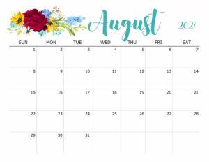 Floral August 2021 Calendar