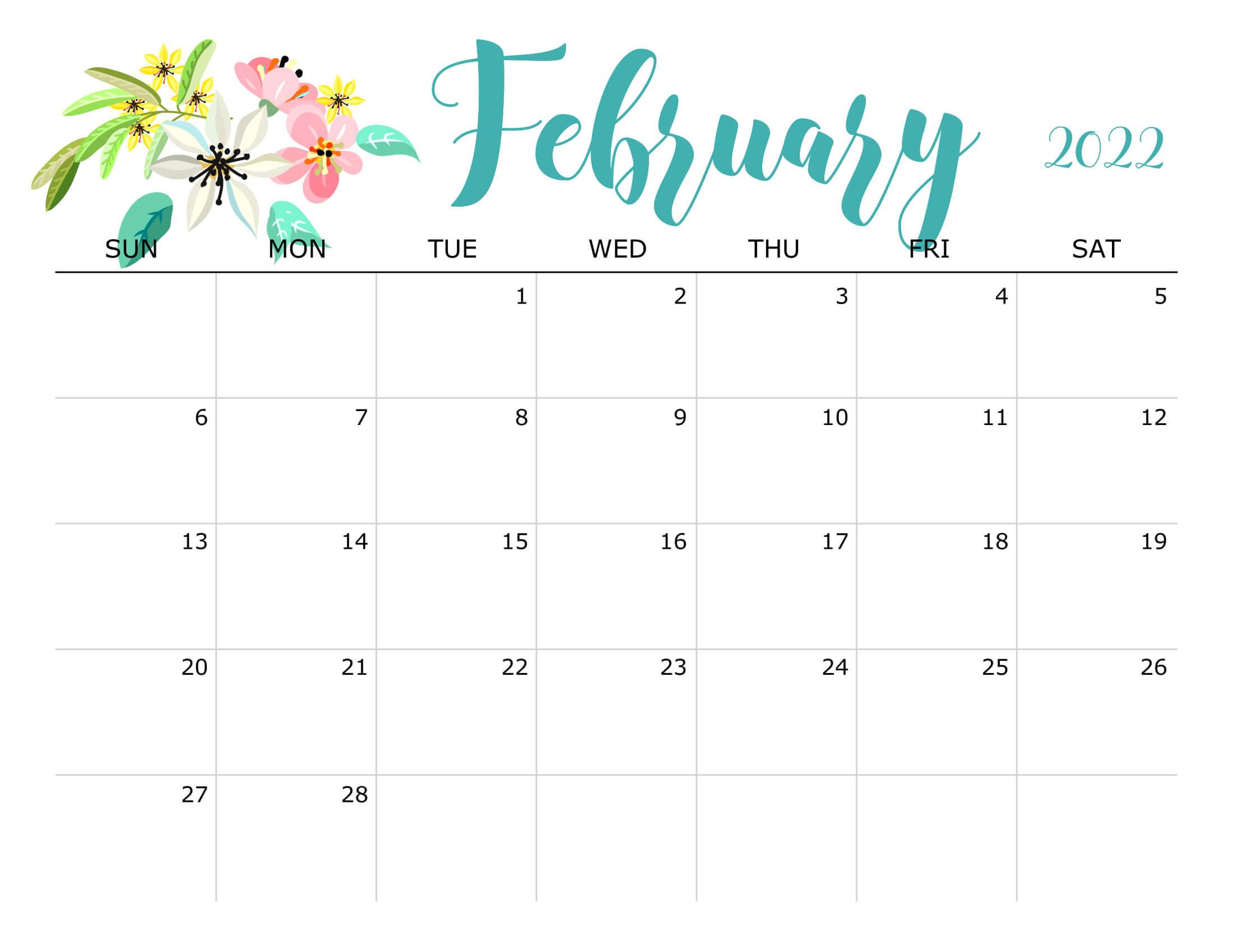 Floral February 2022 Calendar