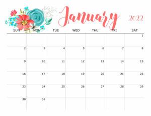 Floral January 2022 Calendar
