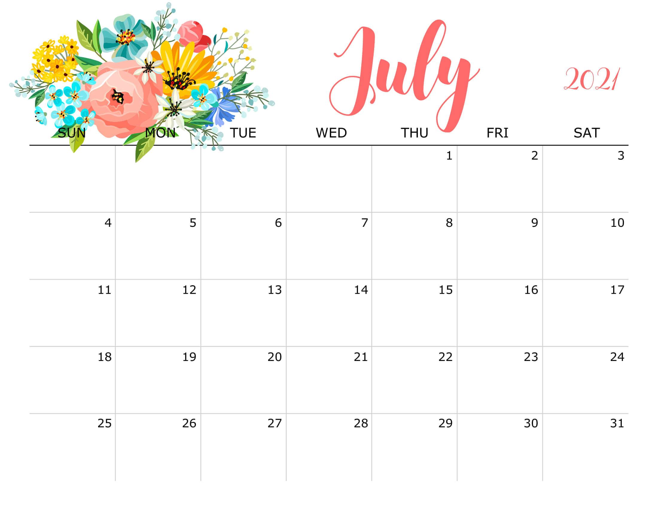 Floral July 2021 Calendar