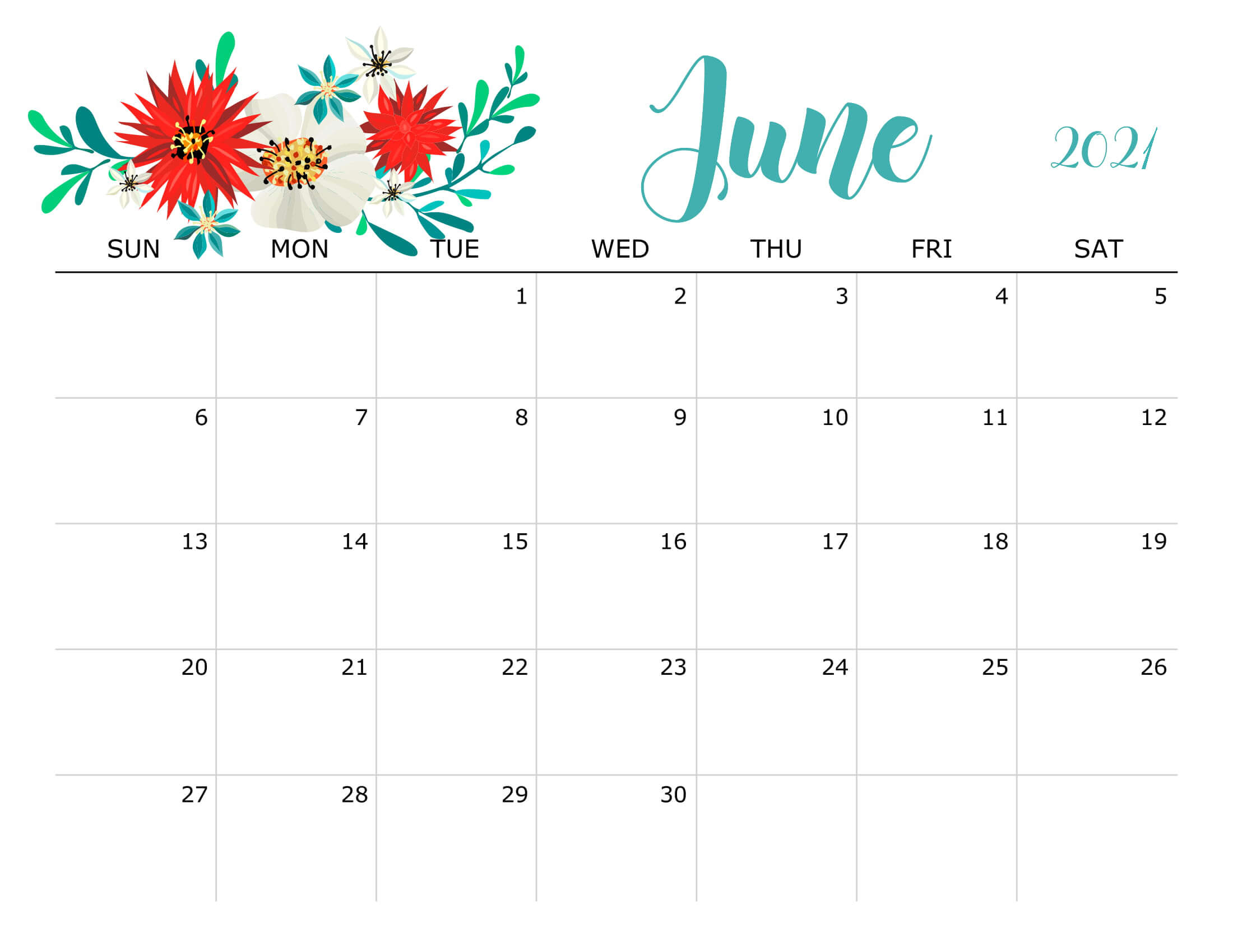 Floral June 2021 Calendar