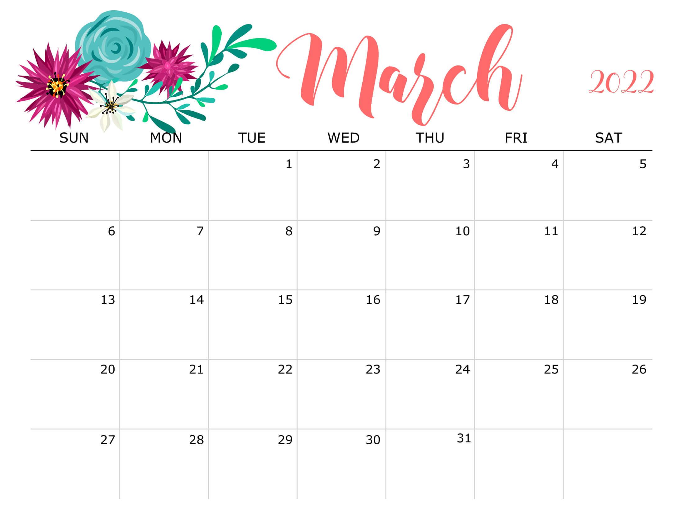 Floral March 2022 Calendar