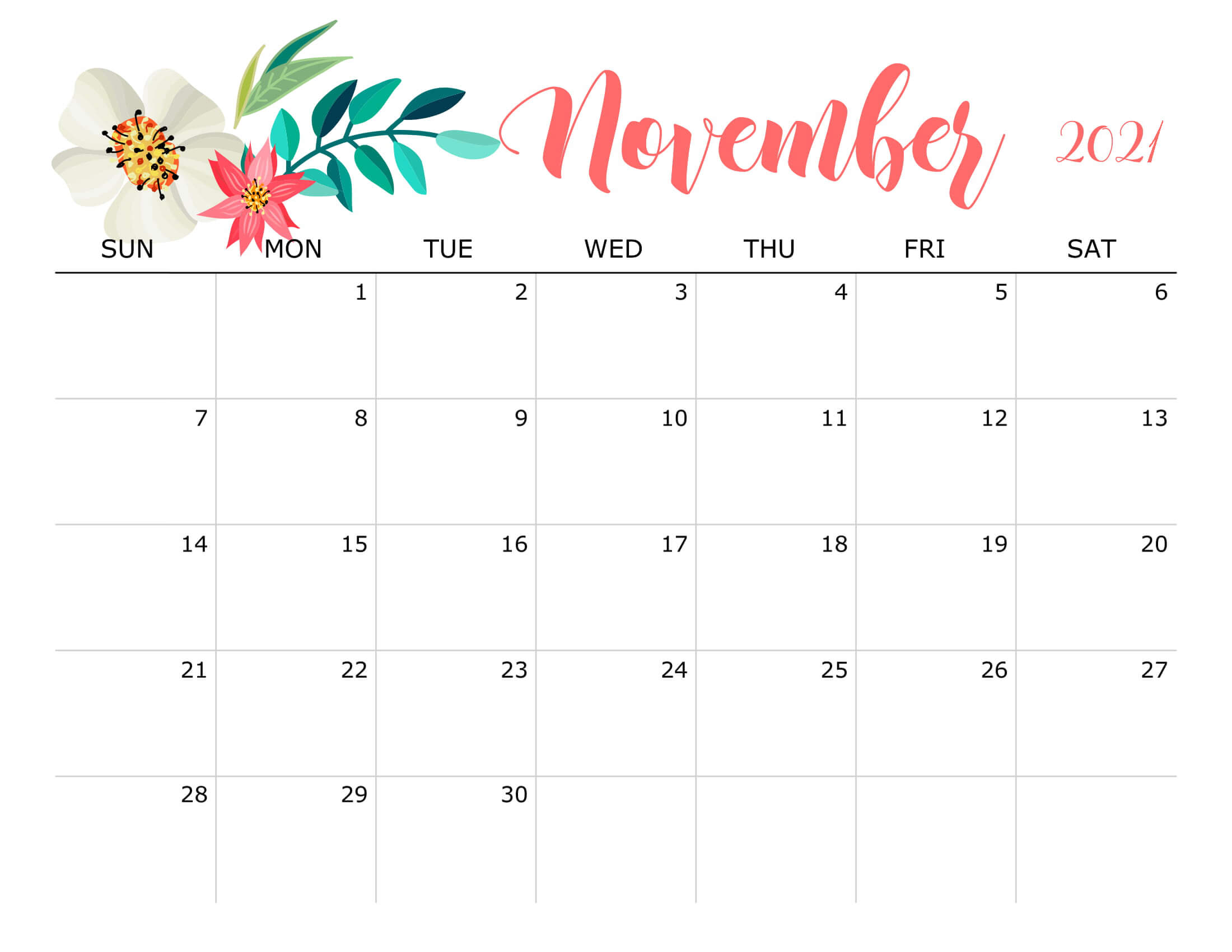 Floral November 2021 Calendar