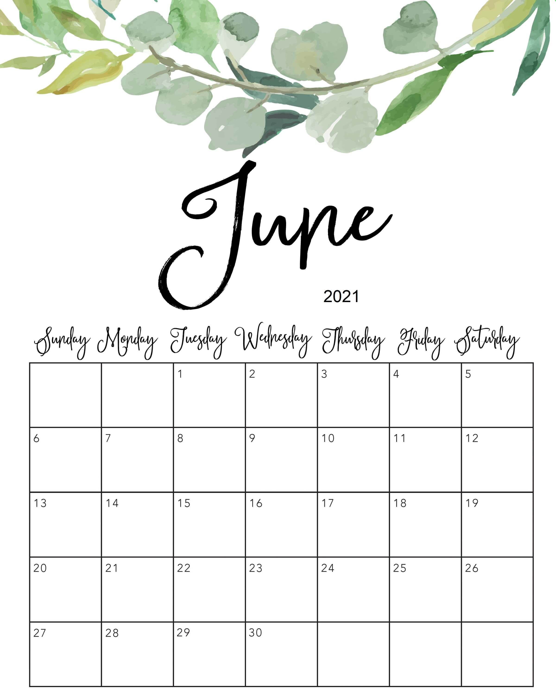 June 2021 Cute Calendar