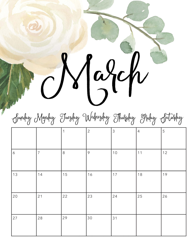 March 2022 Cute Calendar