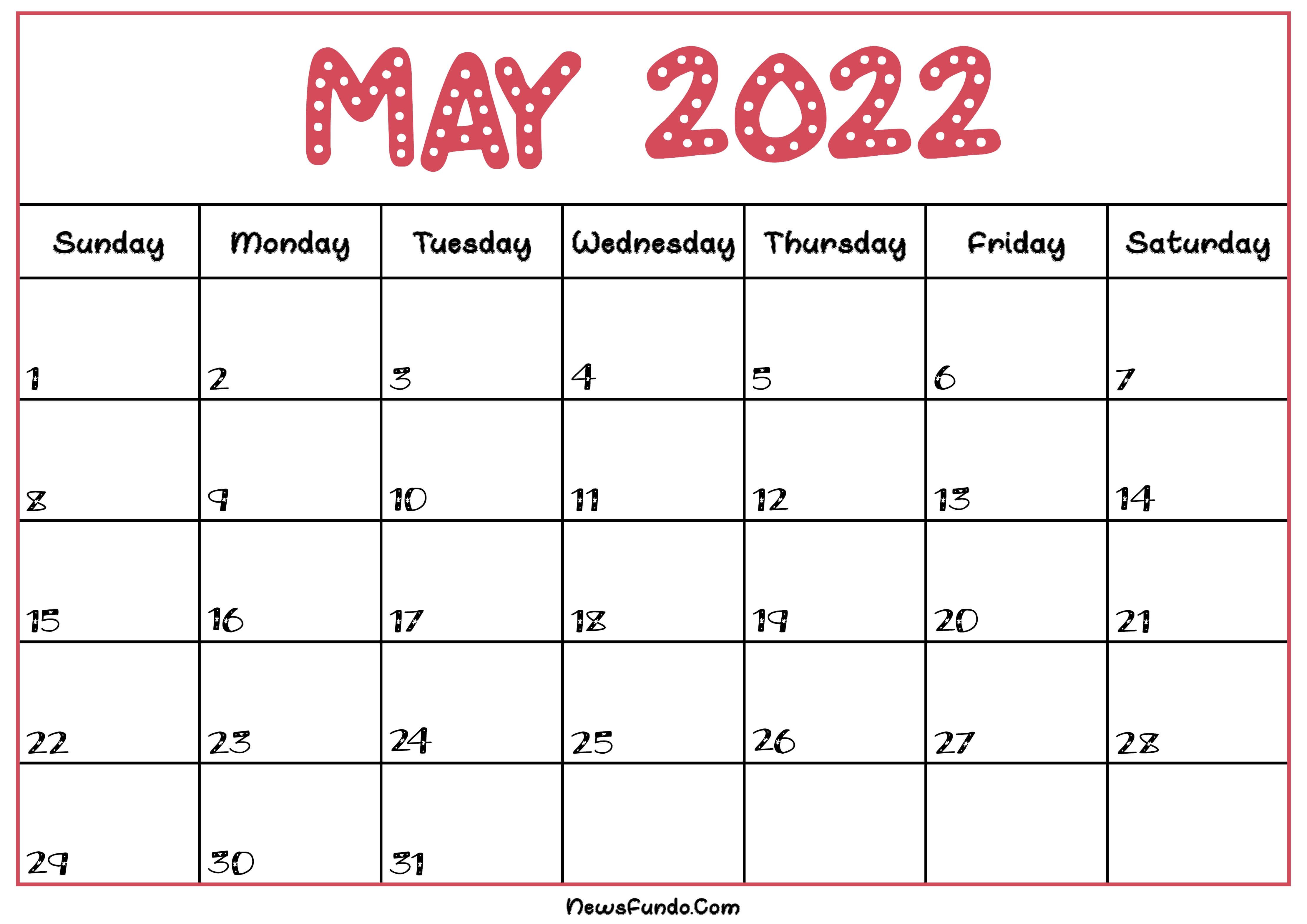 May Calendar 2022 Printable