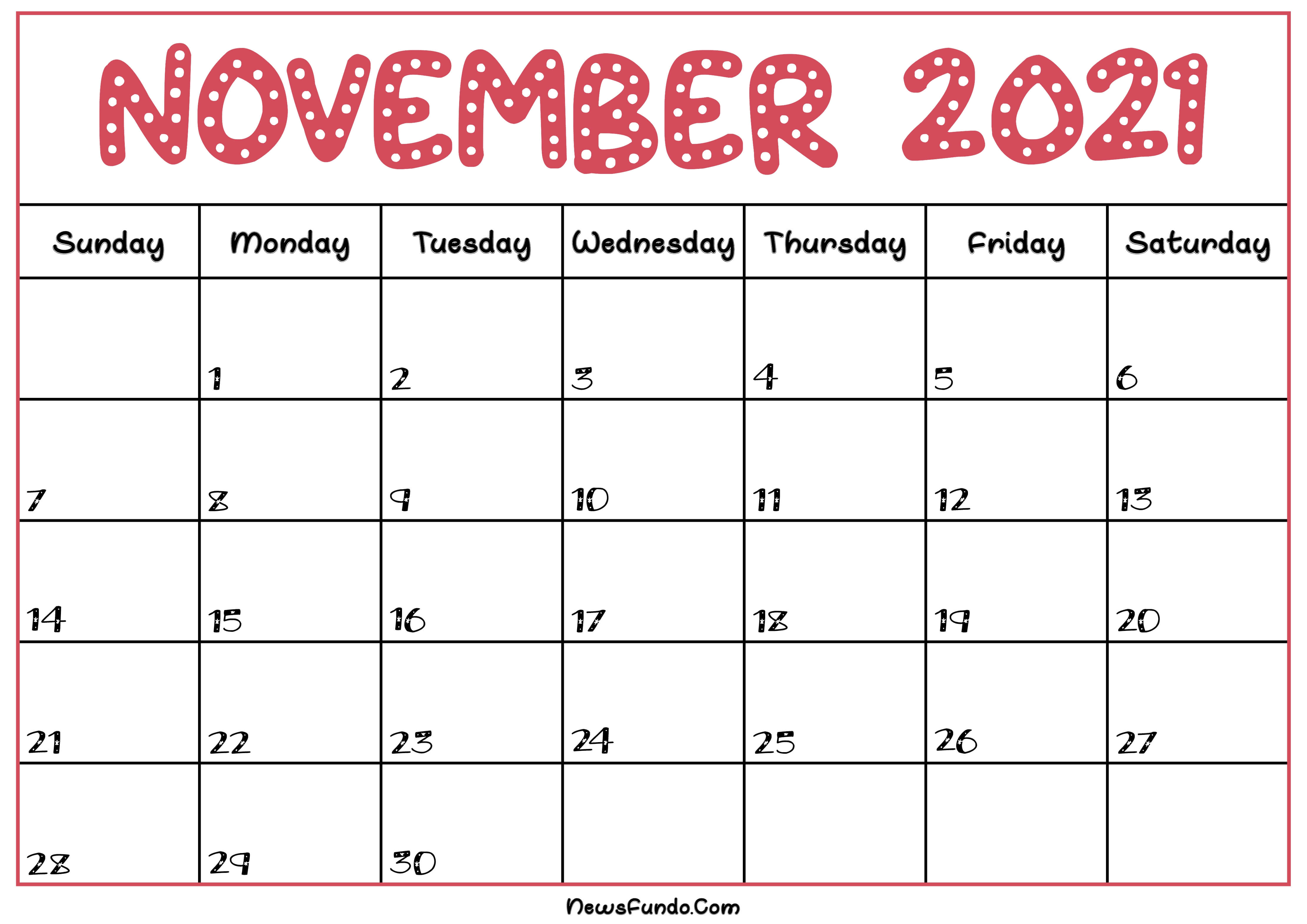 November Calendar 2021 Printable