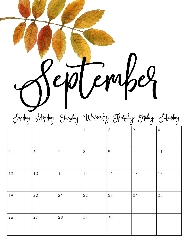 September 2021 Cute Calendar